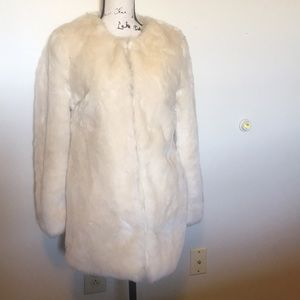 Forever 21 Boutique White Faux Fur Jacket Small